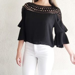 H&M Divided Black Crochet Ruffle Top